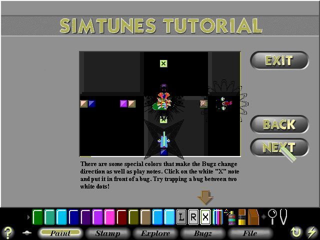 SimTunes Windows The'X' tiles cause the bugz to reverse direction while the 'L' and 'R' cause them to turn left and right