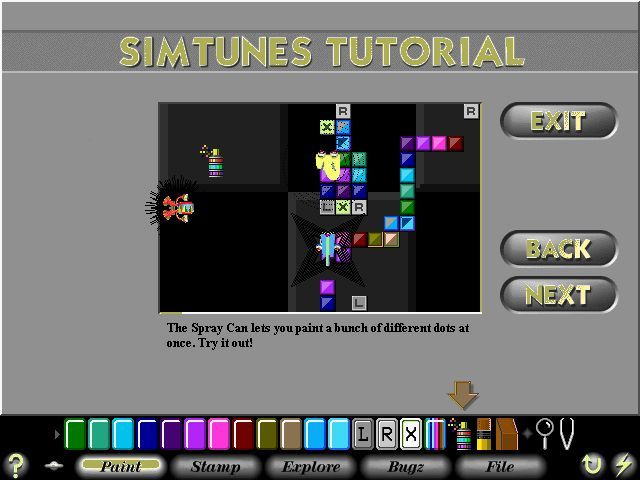 windows half screen screenshot half the screen has been cleared to show effects of spray can tool simtunes screenshots for windows mobygames