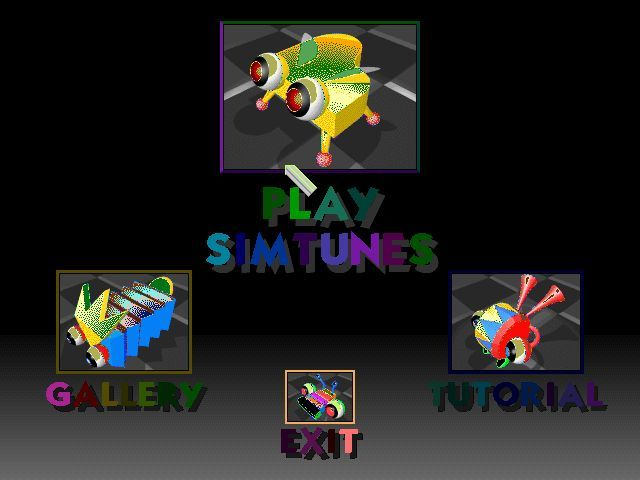 SimTunes Windows This is the main menu. The Gallery can be accessed from inside the play screen. The tutorial is excellent and explains all the basic tools very well