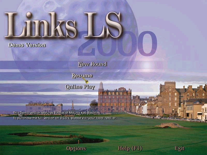 Links LS 2000 Windows This is the main menu screen. Its a demo version so there's only one course and some options are limited