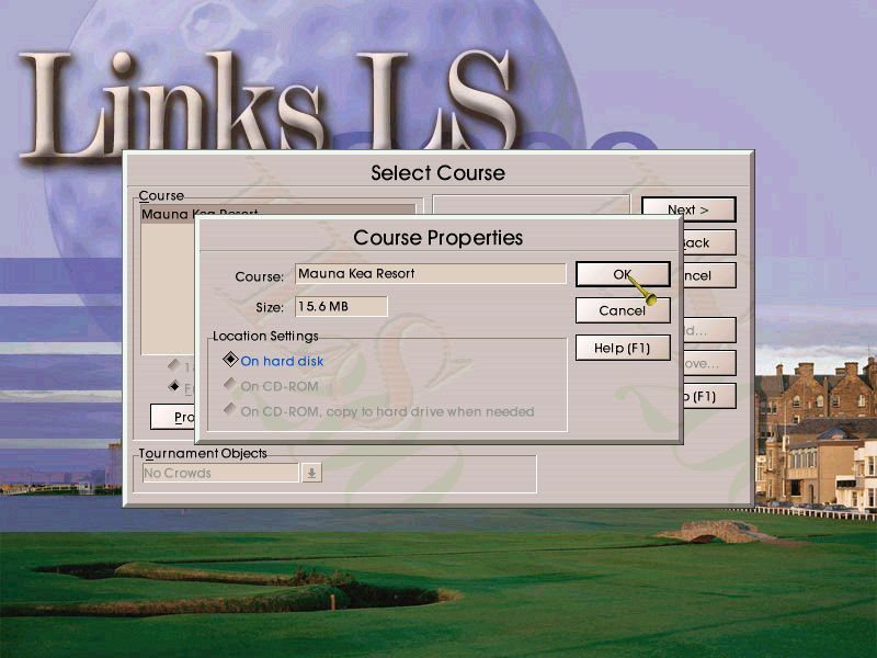 Links LS 2000 Windows Starting a new round of golf begins with course selection. The game allows players to keep just the course they want to play on their hard drive to save space.