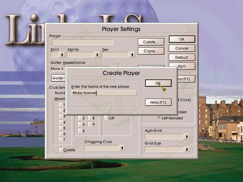 Links LS 2000 Windows Before any golf can be played the player must create a golfer. This starts by entering a name. The game allows a decent size of name and spaces.