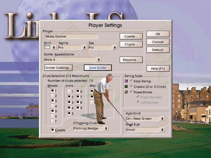 Links LS 2000 Windows There are different kinds of golfer animation available. Here Male-4 has been selected and is being viewed. Other important settings are the clubs the player will take onto the course and skill level