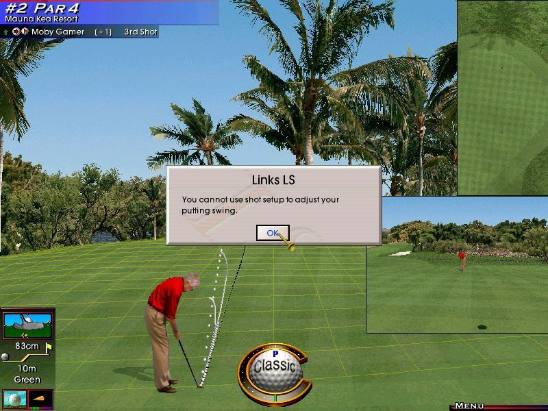 Links LS 2000 Windows So after a few attempts to put the ball into the hole have failed the player tries to adjust the golfers stance only to get this message. Should have read the manual!