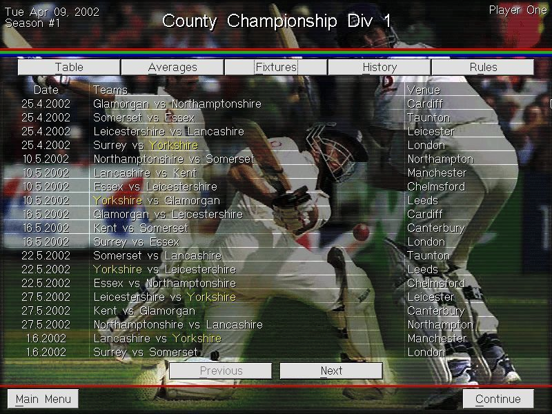 Michael Vaughan's Championship Cricket Manager Windows From the main menu the Leagues tab can be used to view every match in all divisions