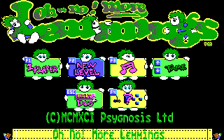 Oh No! More Lemmings DOS Main Menu (Tandy)