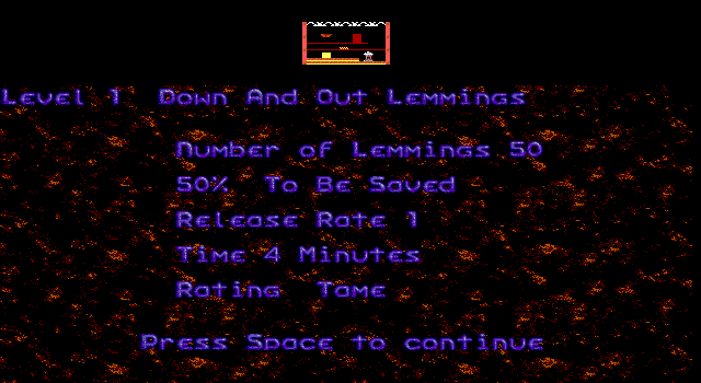 Oh No! More Lemmings DOS Objective Screen (EGA)