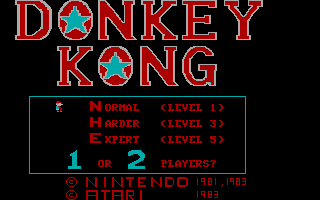 Donkey Kong PC Booter Title Screen (CGA without Full Color)