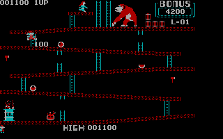 Donkey Kong PC Booter Level 1 - Nice jump (CGA without Full Color)