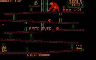 Donkey Kong PC Booter Level 1- Killed and game over (CGA with Full Color)