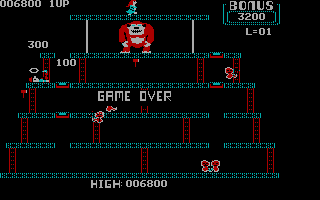 Donkey Kong PC Booter Level 2- Killed and game over (CGA without Full Color)