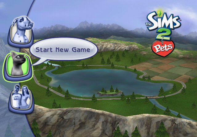 The Sims 2: Pets PlayStation 2 Menu screen.