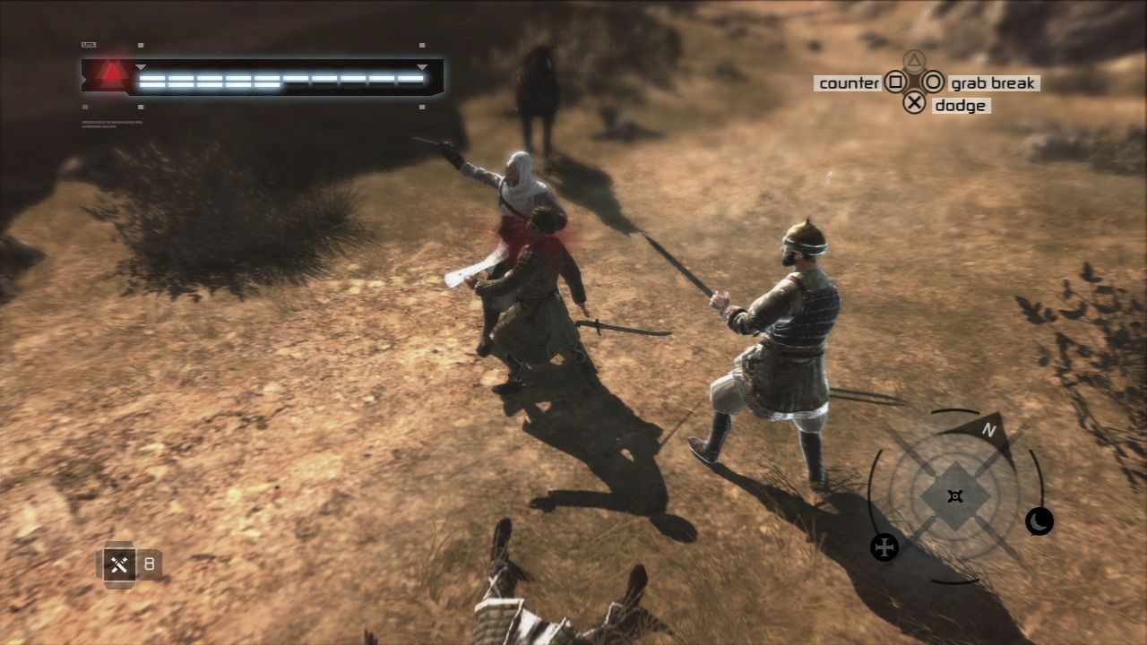 Assassin's Creed PlayStation 3 Using knife is fast and requires least of your movement to take out the attacker.