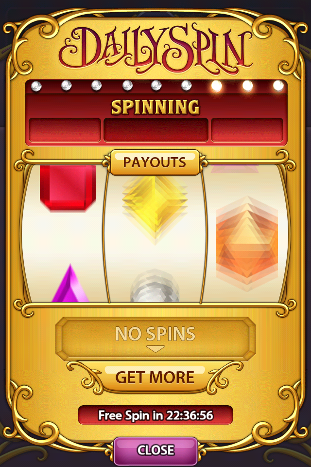 Bejeweled Blitz iPhone Spinning . Hoping to win!