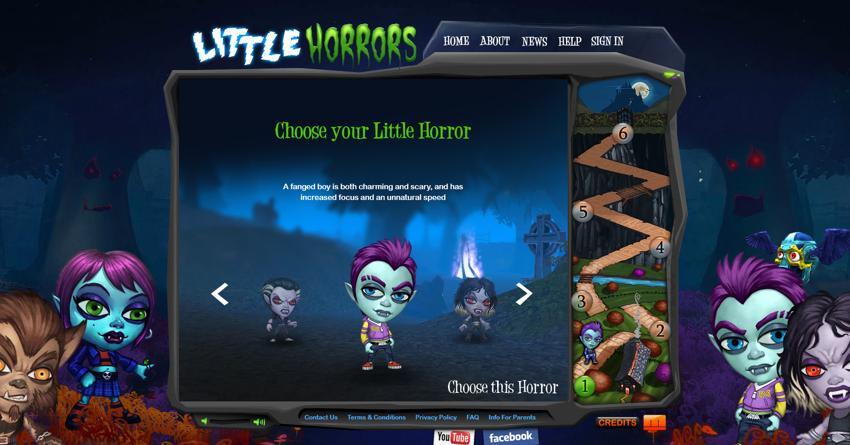 Little Horrors Browser First we pick a character...