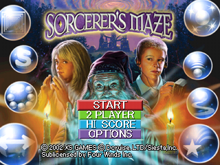 Sorcerer's Maze PlayStation US title screen.