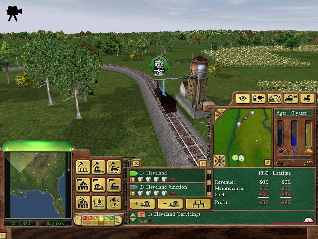 Railroad Tycoon 3 Windows Your early steam trains require oil, water and sand, so be sure to place service towers.
