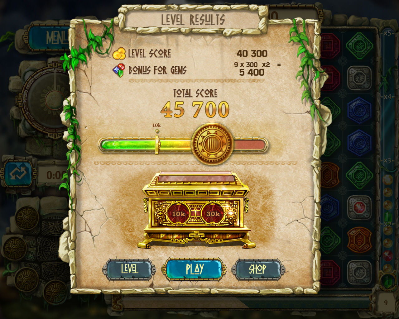 The Treasures of Montezuma 3 Windows My first medal! Look at the Bonus for Gems. Each is worth 300 and I got 9 of them. I need to improve on that.