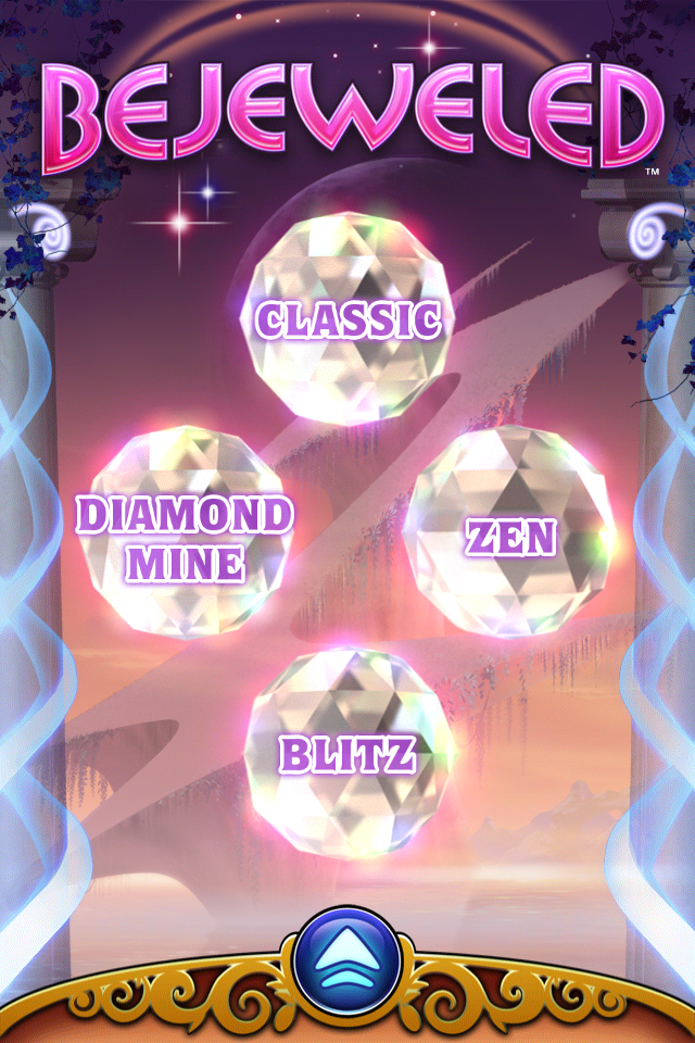 Bejeweled: Classic iPhone Main menu