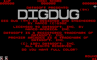 Dig Dug PC Booter Title (DataSoft version)