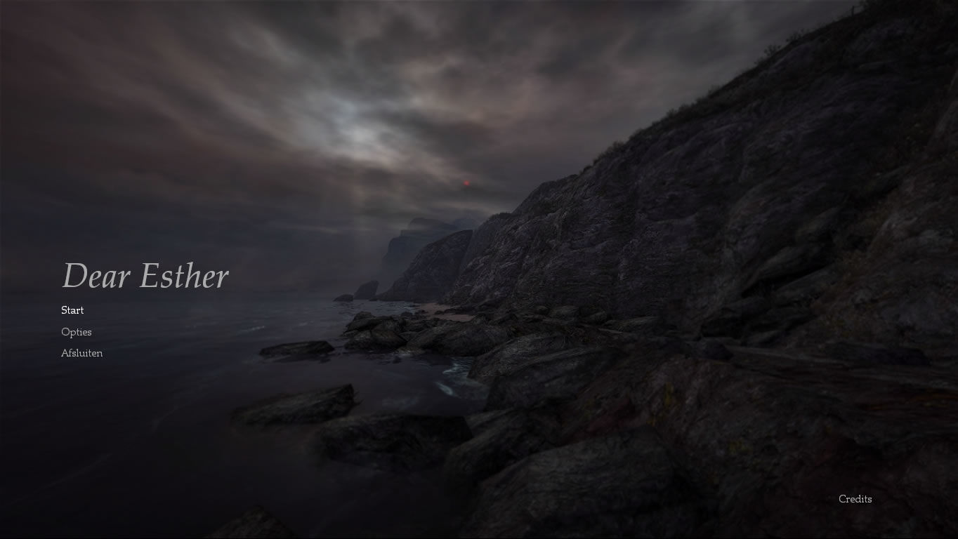 Dear Esther Windows Main menu (Dutch version)