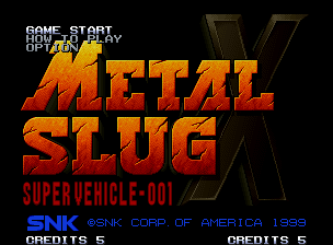 Metal Slug X Neo Geo Main menu