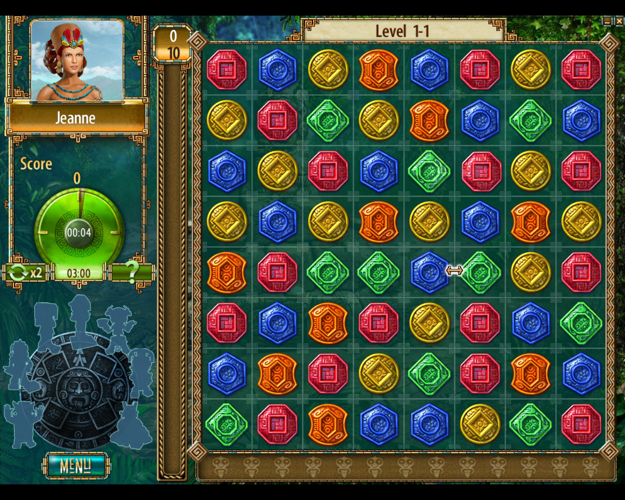 The Treasures of Montezuma 2 Windows Level 1-1 starts. Notice the number of gems needed for this level is shown to the left of the board at the top.