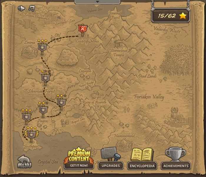 Kingdom Rush Browser The campaign map.