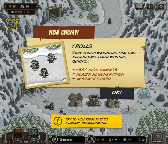 Kingdom Rush Browser New enemies are explained in such info cards.
