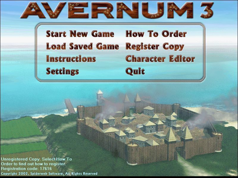 Avernum 3 Windows This is the game's menu screen. It is displayed at the start of the game