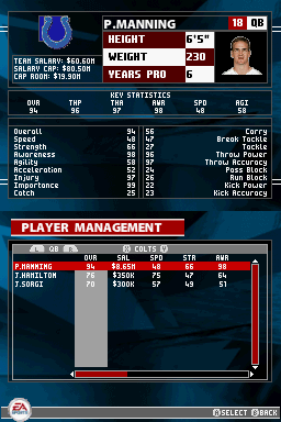 Madden NFL 2005 Nintendo DS The roster screen gives you information about every player in the NFL.