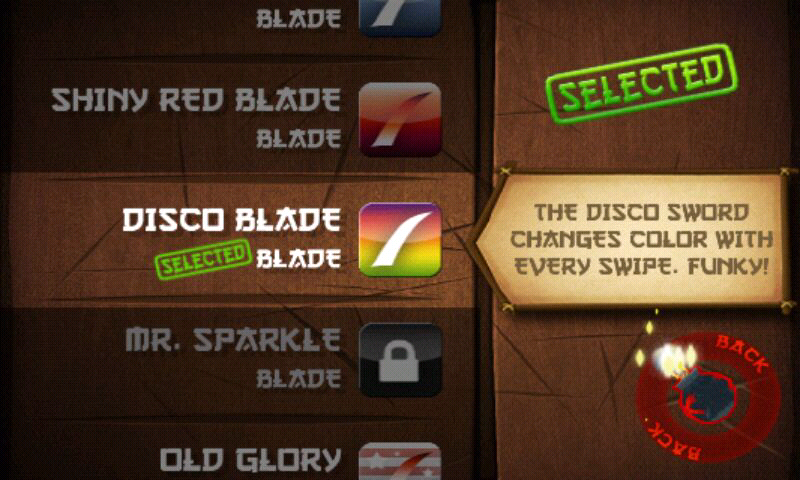 Fruit Ninja Android In the dojo you can see your blade and background unlocks.