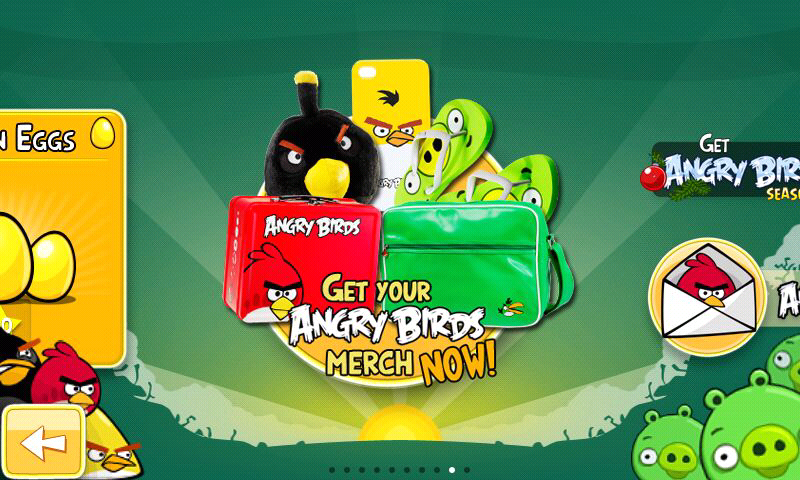 Angry Birds Android More optional advertising in the menu
