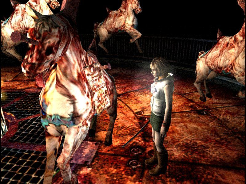 Silent Hill 3 Windows u know you're in a Silent Hill game when... a horse in a merry-go-round has a nine-inch-nail stuck in its forehead.
