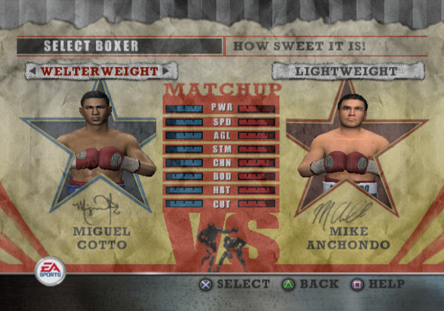 Fight Night Round 2 PlayStation 2 Fighter selection.
