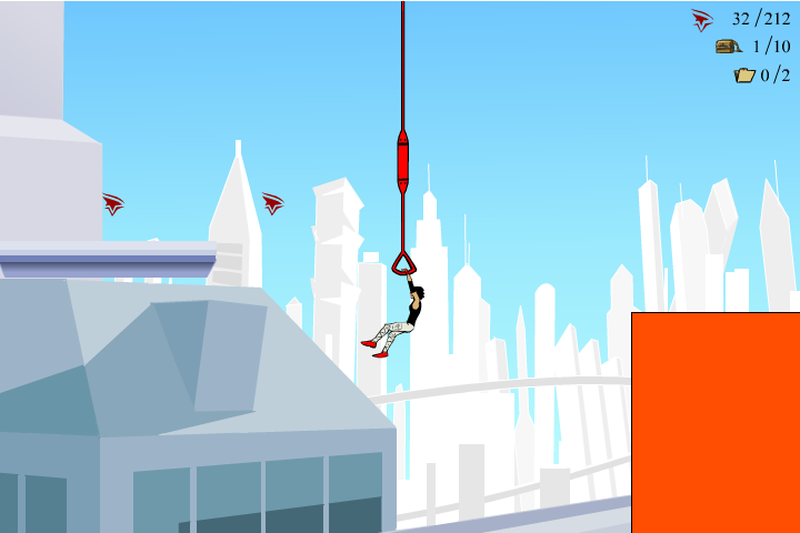Mirror's Edge 2D Browser Faith can swing and continue jumping