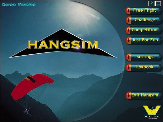 Hangsim Windows This is the game's menu as it was released in the demo version. Being a demo version the Logbook, Just For Fun and Competition options are not available