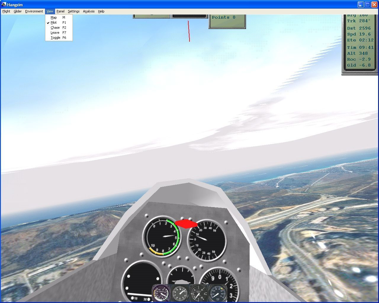 Hangsim Windows Flying the glider in Challenge mode. The menu bar is selected via the ALT key and gives access to many game control options at the expense of some of the information panels