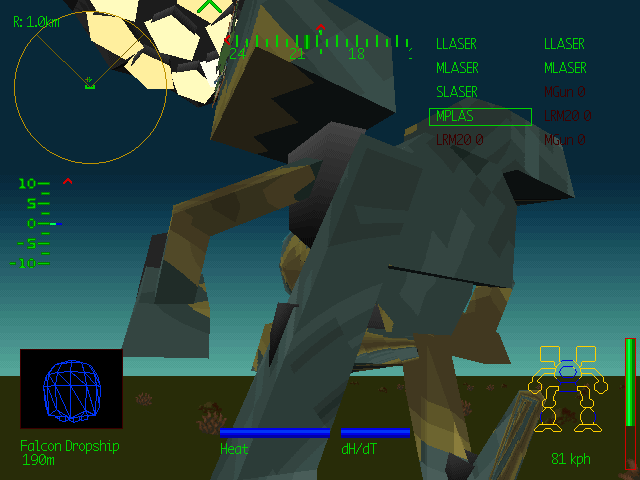 MechWarrior 2: 31st Century Combat DOS Dramatic angles are dramatic.