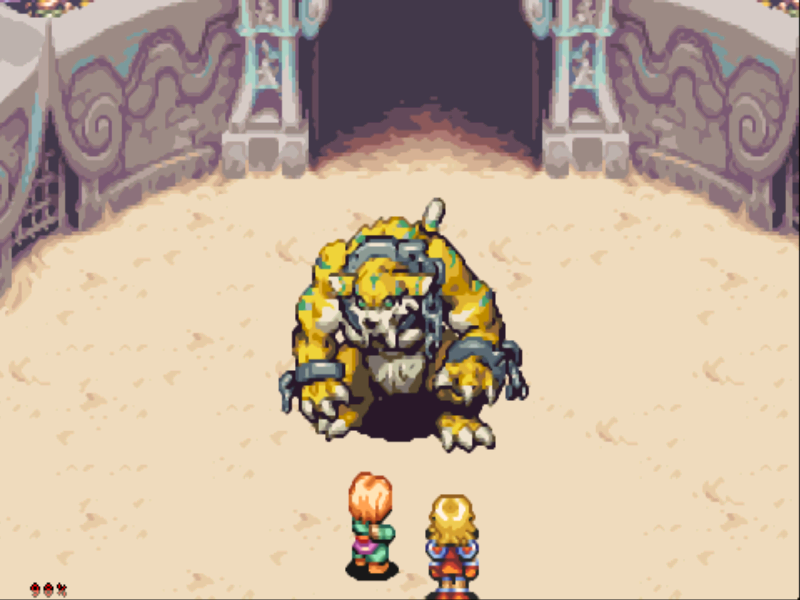 Sword of Mana Game Boy Advance That's a pretty big monster!  All fights are real-time.