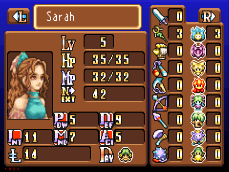 Sword of Mana Game Boy Advance Here is a look at the stats screen.  The left are normal stats, the right are your weapon skill level and your magic spirit skill level