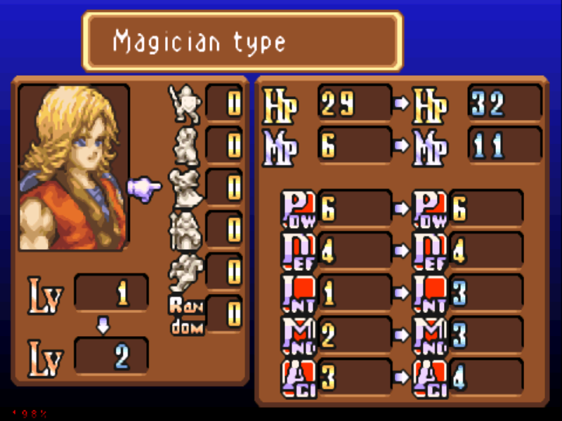 Sword of Mana Game Boy Advance A look at the Level up screen.  Your choice of class affects your stat upgrades.