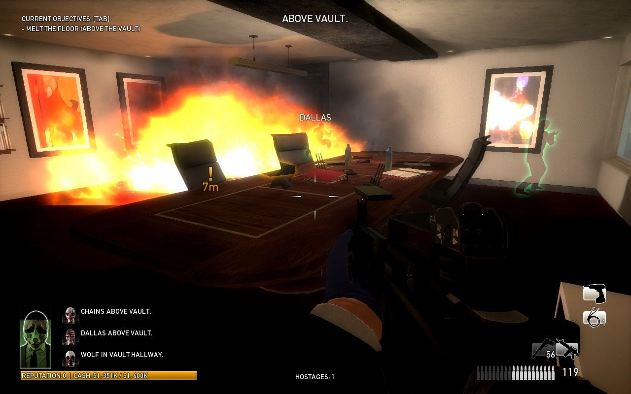 Payday: The Heist Windows Using thermite to melt a hole into the vault