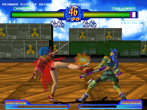 Battle Arena Toshinden 2 Windows Ellis connects with a good kick on Tracy