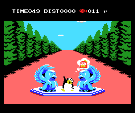 Penguin Adventure MSX End of a level. Thinking of the princess really helps.