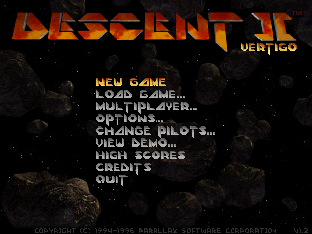 "Descent II: The Infinite Abyss DOS Main menu. Note the ""Vertigo"" subtitle."