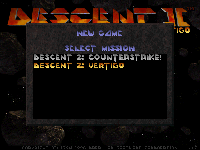 Descent II: The Infinite Abyss DOS The available campaigns