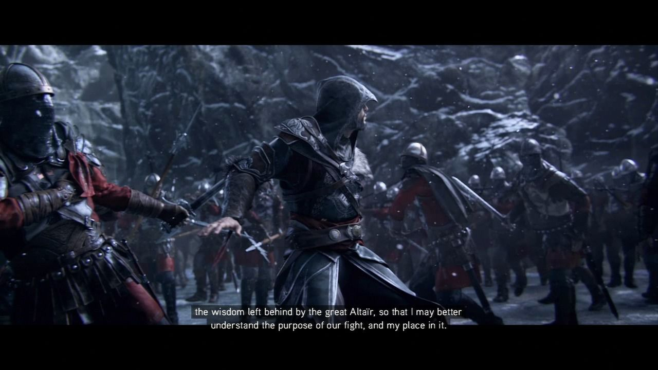 Assassin's Creed: Revelations PlayStation 3 Ezio fending on the ambush by the Templars at the foot of Masyaf.