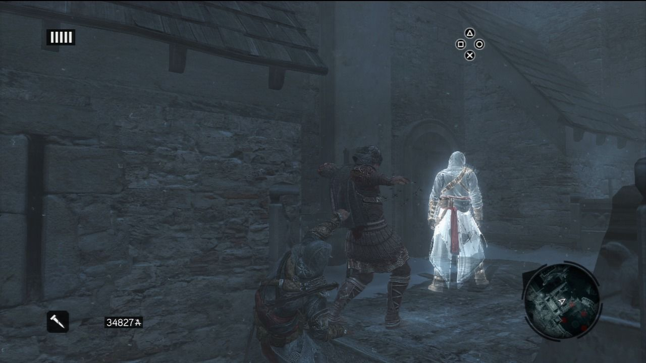 Assassin's Creed: Revelations PlayStation 3 Stealth kill from the ledge while following Altair's shadow.