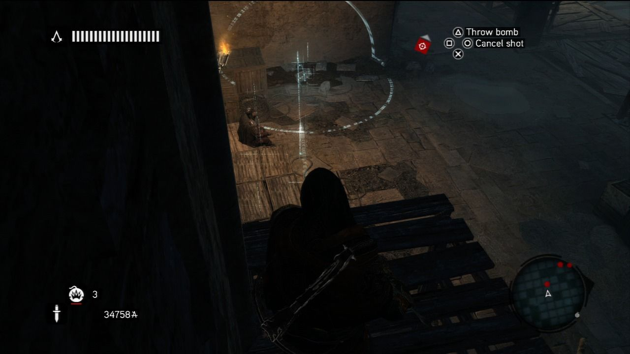 Assassin's Creed: Revelations PlayStation 3 From the shadow, throwing bomb at the guard post.